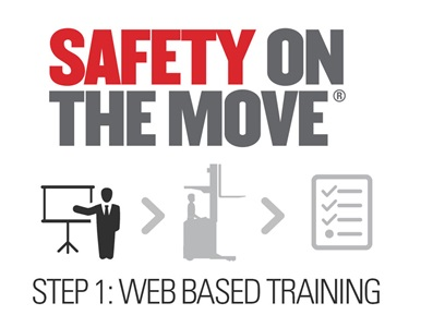 Safety On The Move Training Graphic demonstrating this is Step 1: Web Based Training.
